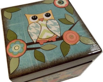 Keepsake Box, Trinket Box,TreasureBox,  Owls and Other Designs, Decoupaged Handcrafted Box, Storage Organization, MADE TO ORDER
