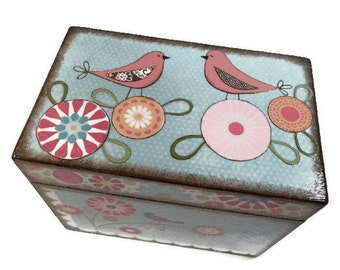 Wishes for Baby Box, Baby Shower Box, Holds 4x6 Wishes Cards, Decorative, Gift, Baby or Child, Mod Bird Box, Baby Storage MADE TO ORDER