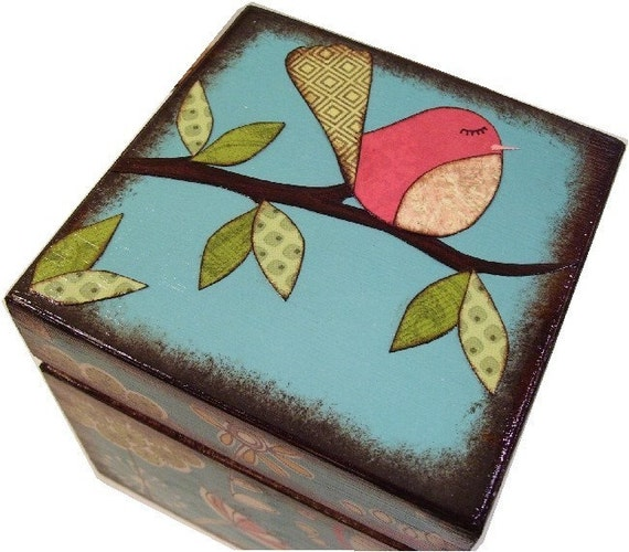 Keepsake,Trinket, Jewlery, Decorative Box, Bird, Owl, Tree, For Children, Baby Storage Box, Gift for Baby Personalized Gift, MADE TO ORDER