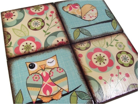 Wooden Coasters  Handcrafted Set of (4)  Square  Decoupaged    READY TO SHIP