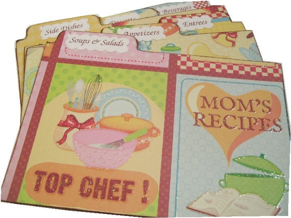 Recipe Tabs Dividers  STURDY (Set of 6) -  3 x 5 or 4 x 6 MADE To ORDER