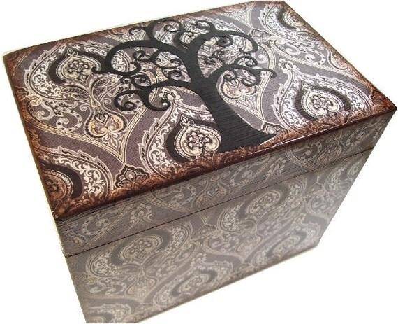 Recipe Box, Decoupaged Decorative Box, Kitchen Decor, Recipe Organizer, Bridal Shower Box, Holds 4x6 Cards, Storage Box, MADE TO ORDER