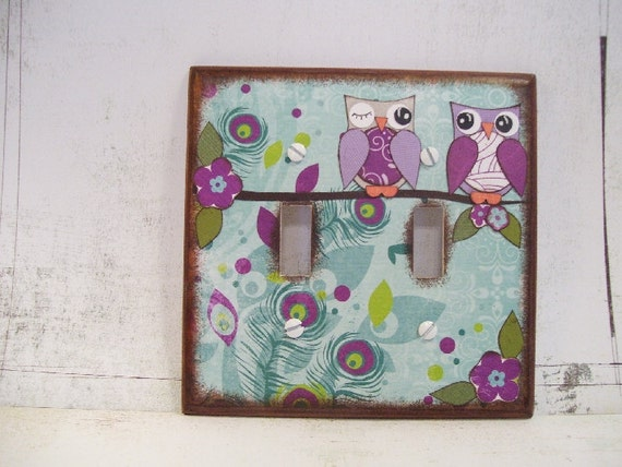 Decoupaged Double Light Switch Plate Cover  - Fun Designs MADE TO ORDER - By Gifts And Talents