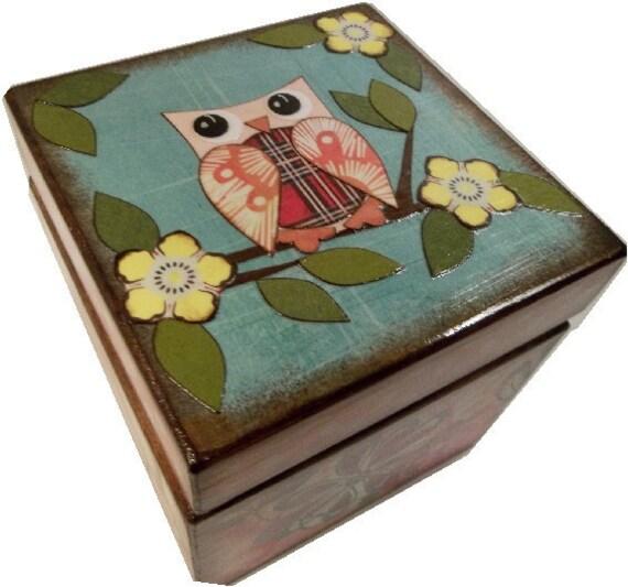 Keepsake Box, Treasure Box, Trinket Box, Decoupaged, Handcrafted Wood Box, Owls and Other Designs, Storage Organization, MADE TO ORDER
