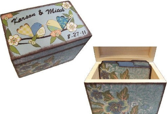 Recipe Box,Tab Dividers SET Decoupage Handcrafted Recipe Box, Large, Bird, Owl Box, Kitchen Organizer, Recipe Holder, Storage, MADE To ORDER