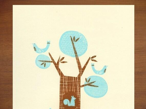 Birds and Squirrel Field trip I  Gocco Screenprint
