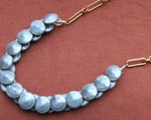 Vintage Rose Gold Chain and Grey Glass Buttons Necklace