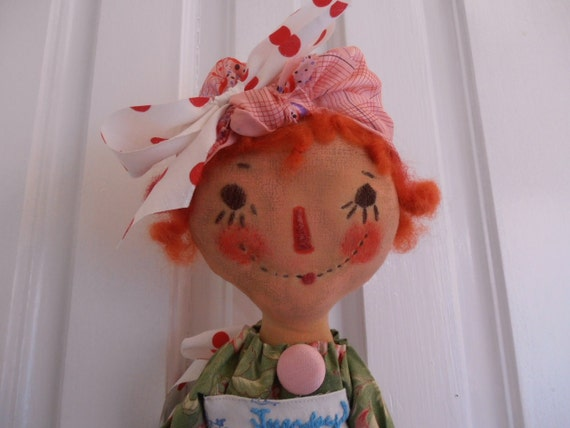 Primitive Raggedy Ann, days of the week ..Tuesday, reserved
