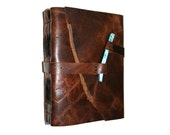 William Blake quote . Handmade Leather Journal . distressed brown with aqua shell peg  (320 pgs.)