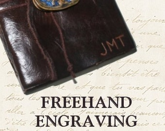 ENGRAVING -- freehand engraving (up to 3 initials) on journal cover