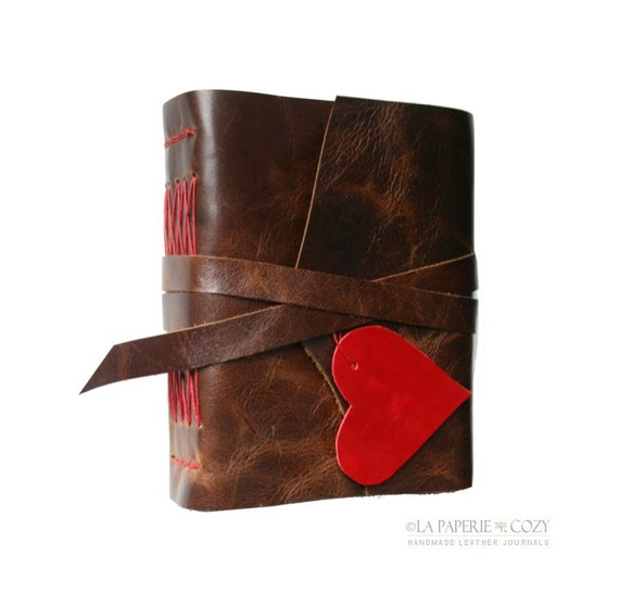 i carry your heart with me . ee cummings . Handbound Leather Journal - dark brown and red (320 pgs.)