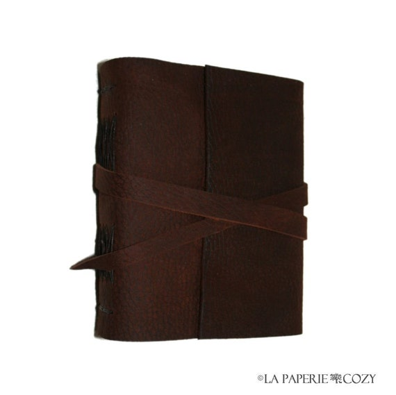 "Leather Journal . Goethe quote: ""When ideas fail, words come in very handy"" . handmade handbound . pebble-grain dark brown (280 pgs)"