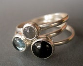 LAST CHANCE Onyx Zircon and Moonstone Sterling Stacking Ring Set--Size 5 (Ready to Ship)