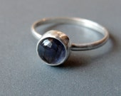 LAST CHANCE Iolite Solitaire Ring in Sterling Silver--Size 6 (Ready to Ship)