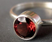 LAST CHANCE Sterling and Garnet Solitaire Ring--Size 5.5 (Ready to Ship)