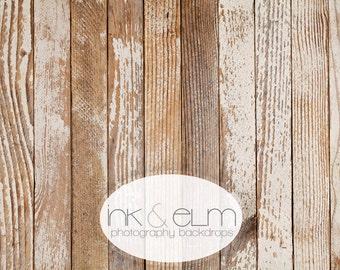 "Vinyl Photo Backdrop 4ft x 3ft, Photography Backdrop / Floordrop Distressed Wood, Photo Shoot Vintage Wood Backdrop, ""Faded Woodslats"""