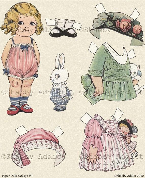 Vintage Paper Doll Golliwog Digital Collage Sheet Images