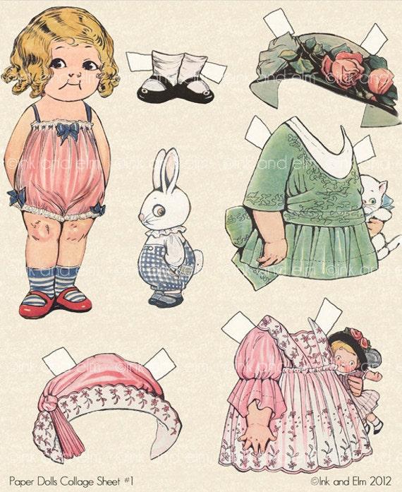 Vintage Paper Dolls, Paper Doll Clip Art, Paper Doll Digital Collage Sheet, Nursery, Digital Images, Children Images, Paper Dolls, Scrapbook