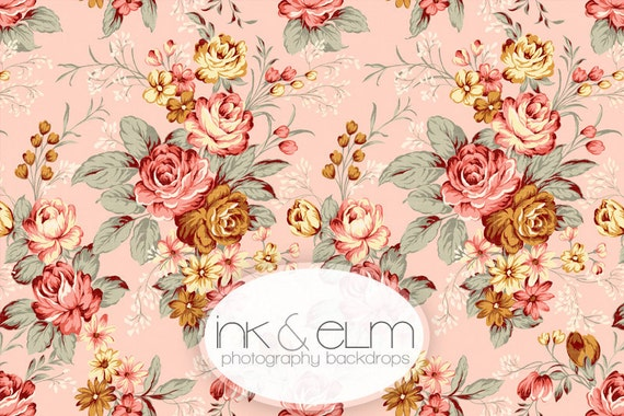 """Photo Backdrop Shabby Chic Floral 4ft x 4ft, Roses & Floral Photography Backdrop, Newborn Prop, Baby Girl Backdrop, """"Ginger"""""""