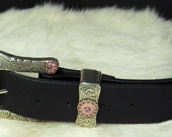 Black Leather Belt with Silver Plated Pink Enamel Buckle