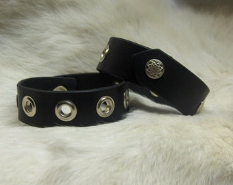 Black Leather Wristbands with Grommets