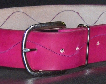 Hot Pink Leather Belt with Purple Stitching