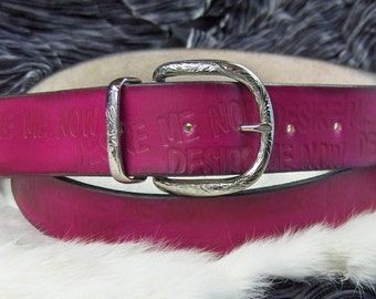 Deep Pink Leather Belt Stamped Customized  Wording