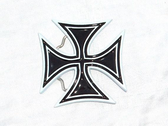 Black Cross Belt Buckle Pewter
