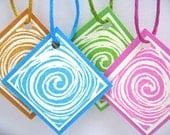 Little Swirls set of 4 Tags