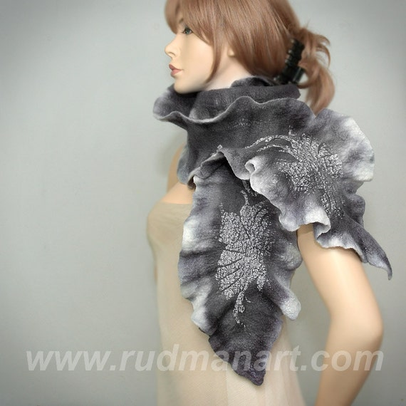 REDUCED Wool Silk Felted Art hand dyed scarf nunofelting Silver Gray Tree Leaves
