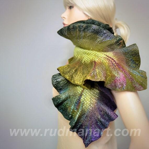 SUMMER SALE 20% discount Felted Scarf Wool Silk Art scarf nunofelting Olive Green Purple Pearl Peacock