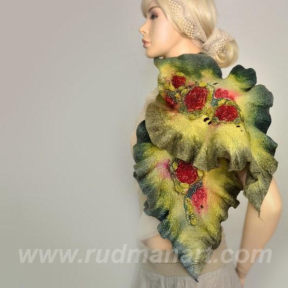 SPRING SALE 20% discount Felted Scarf Wool Silk Art scarf nunofelting Olive Green Red Bordo Magenta Boho
