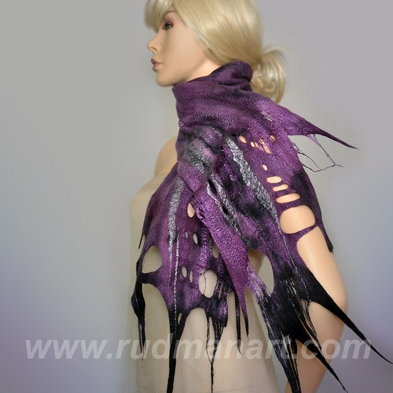 SUMMER SALE 20% discount Felted Scarf Wool Silk Art hand dyed shredded scarf Purple Lilac Gray