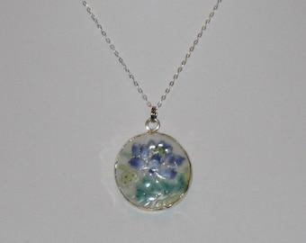 Blue Cornflower Pottery Shard Pendant on Sterling Silver Necklace