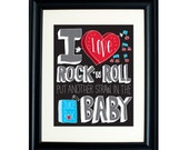 Nursery Decor Kid's Wall Art I Love Rock 'N Roll Hand Lettering 11 x 14 Print in Black/Grey