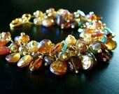 SALE - Mystic Hessonite, Apatite Gold Bracelet - 65 PERCENT OFF  was 388 dollars