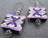 Plum Loco Abstract Polymer Clay Earrings