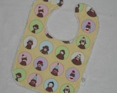 Yellow Sock Monkey and Chenille Boutique Bib - SALE