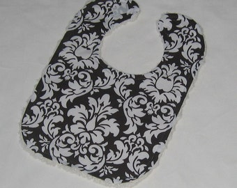 Chocolate Brown Dandy Damask and Chenille Boutique Bib - SALE