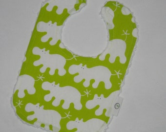 Fun Lime Green Hippos and Chenille Boutique Bib - SALE
