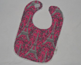Hot Pink Eiffel Tower and Chenille Bib - SALE