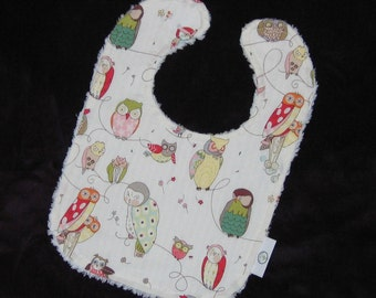 Cool White Owls and Chenille Bib