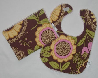 Brown Lacework and Chenille Bib and Burp Cloth Set - SALE