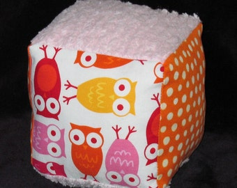 Pink Urban Zoologie Owls Fabric Block Rattle