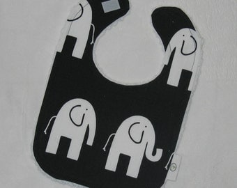 Fun Black and White Elephants and Chenille Bib