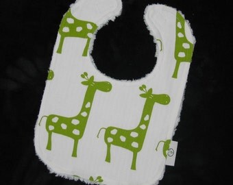 Fun Lime Green and White Giraffes and Chenille Bib