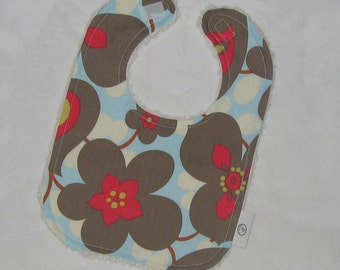 Amy Butler Morning Glory and Chenille Bib - SALE