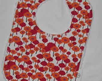 Pretty Orchid Pick A Bunch Fabric and Chenille Bib - Organic - SALE