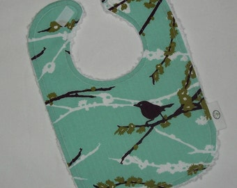 Plum Dewberry Sparrows and Chenille Boutique Bib
