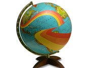 Vintage Globe Art, Not All Who Wander Are Lost, Mod World Globe Art